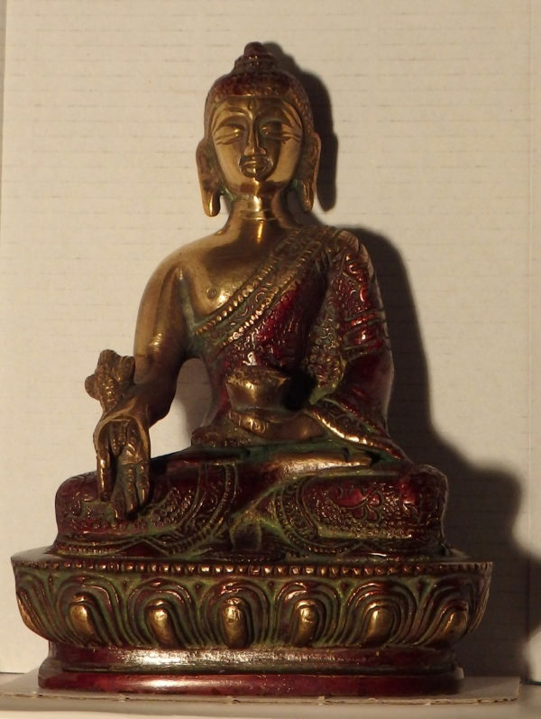 Bouddha bronze rouge et doré